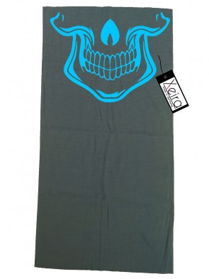 Multifunktionstuch mit Totenkopf Design - Grau / Hell Blau