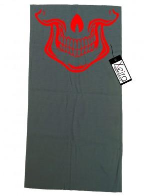 Multifunktionstuch mit Totenkopf Design - Grau / Rot