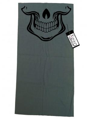 Multifunktionstuch mit Totenkopf Design - Grau / Schwarz