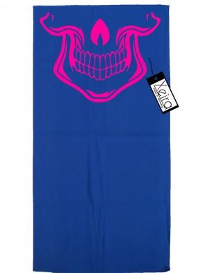 Multifunktionstuch mit Totenkopf Design - Königsblau / Neon Pink