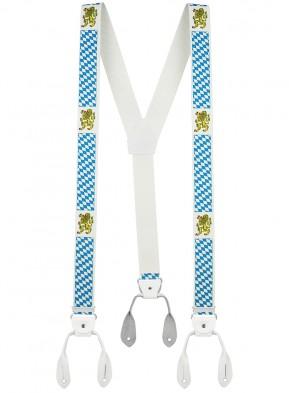 Hosenträger von Xeira® in Vintage Bayern Design mit Lederriemen