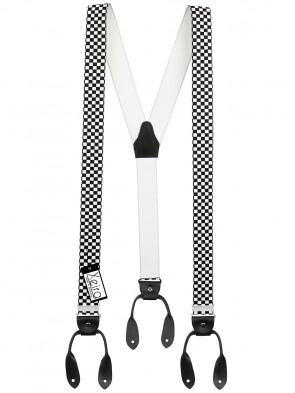 Hosenträger von Xeira® in Vintage Schwarz / Weiß Kariert Design mit Lederriemen