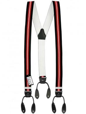 Hosenträger von Xeira® in Schwarz- Rot & Blau - Weiß Design mit Lederriemen