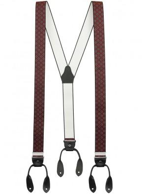 Hosenträger von Xeira® in Vintage Bordeaux / Blau Design mit Lederriemen