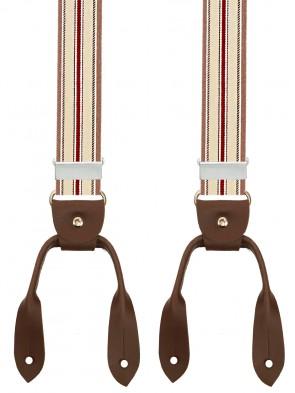 Hosenträger in Vintage  Grau-Braun / Bordeaux Design mit Lederriemen