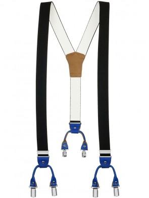 Hosenträger in Trendigen Uni Farben mit Vintage Lederriemen und 6 Clips Design