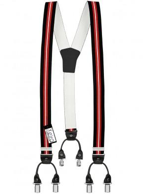 Hosenträger von Xeira® in Trendigen Blau & Rot / Schwarz Vintage Design mit Vintage Lederriemen und 6 Clips