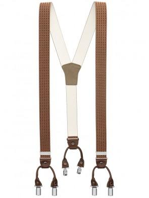 Hosenträger von Xeira® in Trendigen Braun / Bordeaux Gestreift mit Vintage Lederriemen und 6 Clips