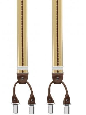 Hosenträger von Xeira® in Trendigen Beige / Braun Gestreift mit Vintage Lederriemen und 6 Clips
