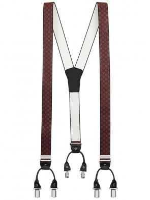 Hosenträger von Xeira® in Trendigen Blau / Bordeaux Vintage Design mit Vintage Lederriemen und 6 Clips