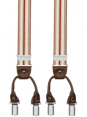 Hosenträger von Xeira® in Trendigen Grau / Braun / Bordeaux Gestreift mit Vintage Lederriemen und 6 Clips