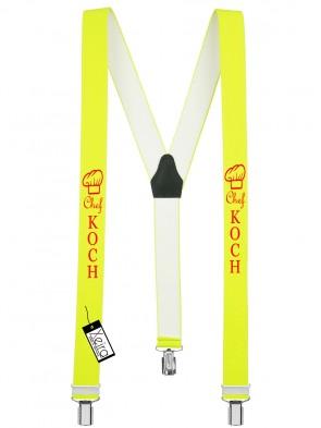 Hosenträger Chef Koch Design mit 3 Clips von Xeira®-Neon Gelb