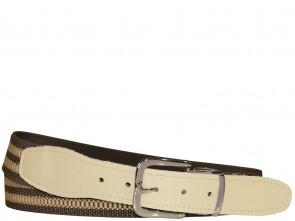 Hochwertiger Elastik- Stoffgürtel Oliv / Khaki Gestreift mit Beige Leder Endstück - Bundweite bis 160 verfügbar