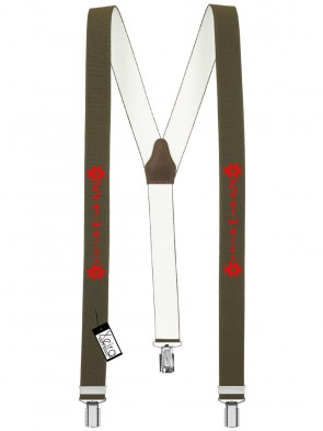 Hosenträger Edelweiss Design mit 3 Clips von Xeira®-Khaki