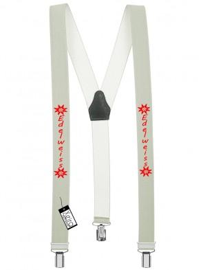 Hosenträger Edelweiss Design mit 3 Clips von Xeira®-Hell Grau