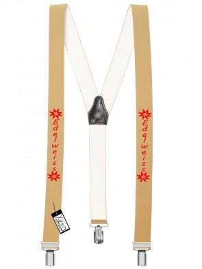 Hosenträger Edelweiss Design mit 3 Clips von Xeira®-Beige