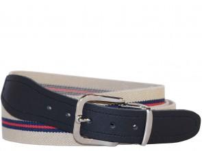 Hochwertiger Elastik- Stoffgürtel Gestreift Beige / Blau / Rot mit Leder Endstück