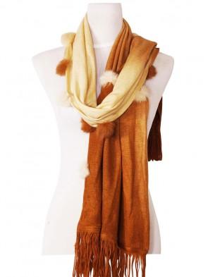 Eleganter Schal - zweifarbig mit Kunstfell Bommeln - Braun - Beige