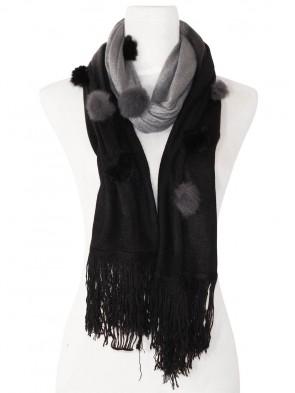 Eleganter Schal - zweifarbig mit Kunstfell Bommeln - Schwarz - Grau