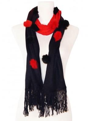 Eleganter Schal - zweifarbig mit Kunstfell Bommeln - Schwarz - Rot