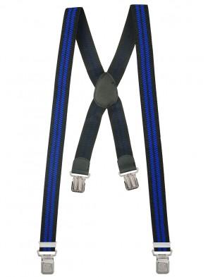 Hosenträger X-Design in Gestreiften Farben mit 4 XL Alder Clips - Schwarz Blau