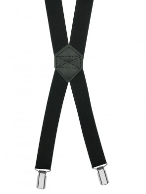Hosenträger X-Design in Uni Farben mit 4 Clips und Leder Rückenteil