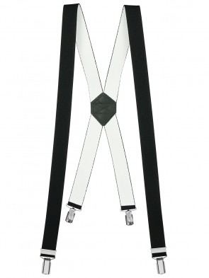 Hosenträger X Form 4-Clips - Schwarz