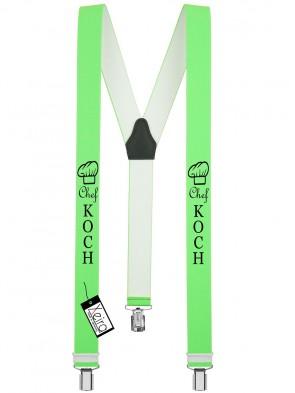 Hosenträger Chef Koch Design mit 3 Clips von Xeira®-Neon Grün