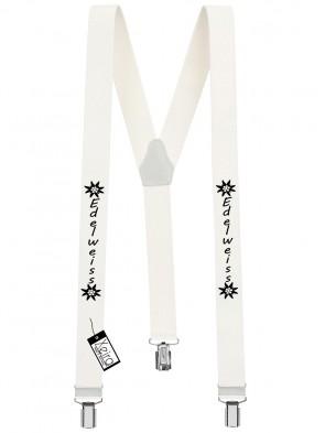 Hosenträger Edelweiss Design mit 3 Clips von Xeira®-Weiß
