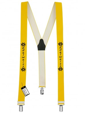Hosenträger Edelweiss Design mit 3 Clips von Xeira®-Gelb