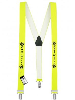 Hosenträger Edelweiss Design mit 3 Clips von Xeira®-Neon Gelb