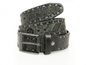 Gürtel in Stars Design - 4cm Breit - Schwarz