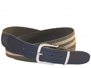 Hochwertiger Elastik- Stoffgürtel Oliv / Khaki Gestreift mit Schwarzen Leder Endstück
