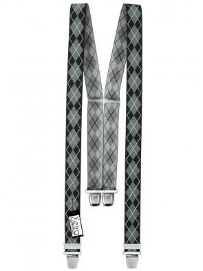 Hosenträger in Vintage Schwarz / Grau Design mit 4 Extra Starken XL Clips