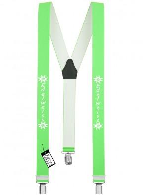 Hosenträger Edelweiss Design mit 3 Clips von Xeira®-Neon Grün