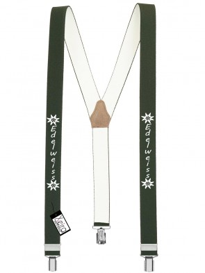 Hosenträger Edelweiss Design mit 3 Clips von Xeira®-Dunkel Grün