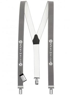 Hosenträger Edelweiss Design mit 3 Clips von Xeira®-Grau