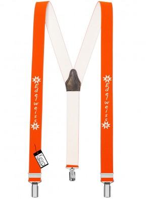 Hosenträger Edelweiss Design mit 3 Clips von Xeira®-Neon Orange