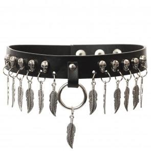 Gothic & Punk - Halsband mit Totenkopf und Ring