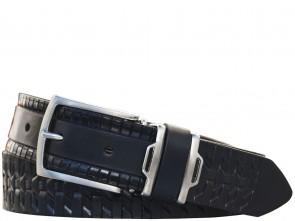Ledergürtel - Geprägt - 3,5 cm - 100% Echt Leder - Schwarz