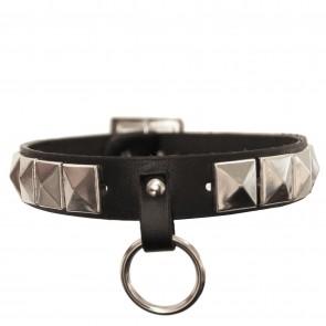 Gothic & Punk - Halsband mit Pyramidennieten und Ring