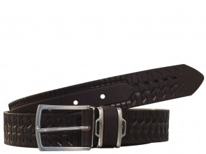 Ledergürtel - Geprägt - 3,5 cm - 100% Echt Leder - Dunkel Braun