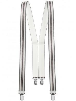 Hosenträger in Blau / Grau / Beige Gestreifen Design mit 4 Clips